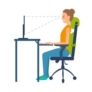 sitting at desk with correct posture